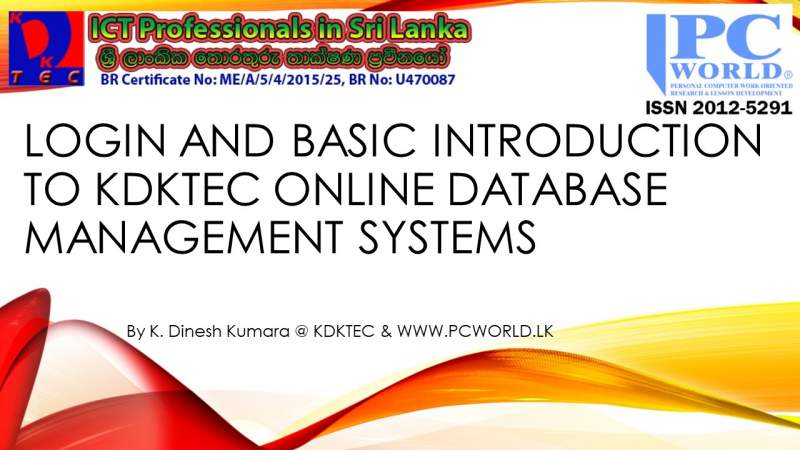 Login and Basic Introduction to KDKTEC Online Database Management Systems