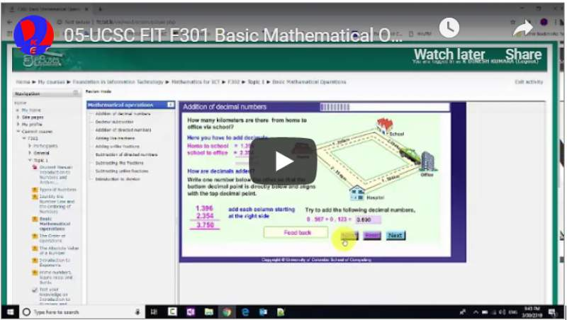 05-UCSC FIT F301 Basic Mathematical Operations Addition of decimal numbers