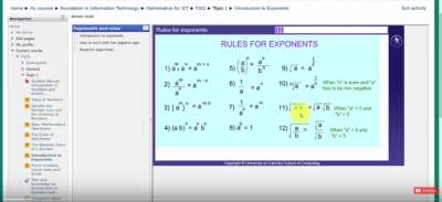 22-UCSC FIT F302 Topic 1 Rules for exponents