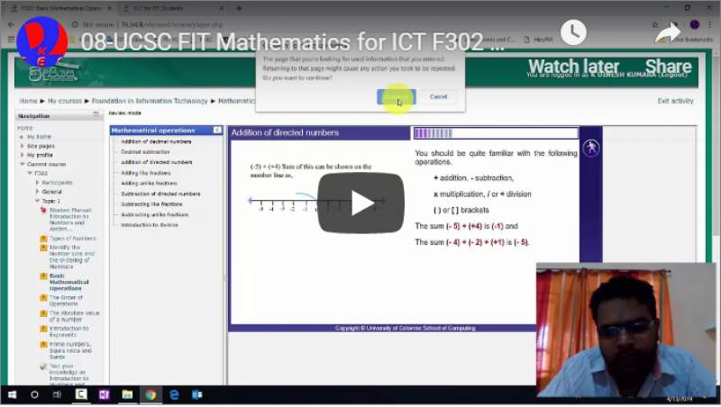 8-UCSC FIT Mathematics for ICT F302 Topic 1 Basic Mathematical Operations Adding Like Fractions